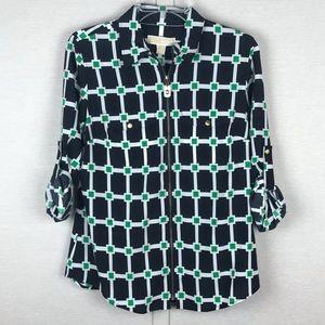 MICHAEL KORS Navy/Green Block Print Blouse *NWT*